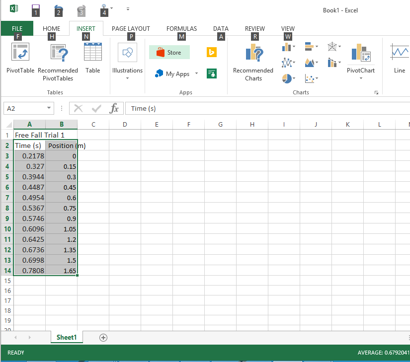 Data selection in Microsoft Excel